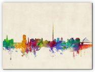 Large Dublin Ireland Watercolour Skyline (Canvas)