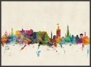Large Edinburgh City Skyline (Pinboard & wood frame - Black)