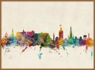 Large Edinburgh City Skyline (Pinboard & wood frame - Teak)