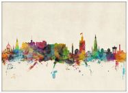 Large Edinburgh City Skyline (Pinboard & wood frame - White)