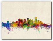 Medium Edmonton Canada Watercolour Skyline (Canvas)