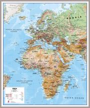 Europe Middle East Africa (EMEA) Physical Map (Pinboard & framed - Silver)