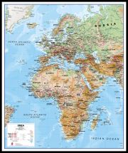 Europe Middle East Africa (EMEA) Physical Map (Pinboard & framed - Black)