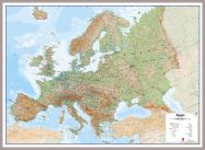 Large Europe Wall Map Physical (Pinboard & framed - Silver)