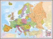 Huge Europe Wall Map Political (Pinboard & framed - Silver)