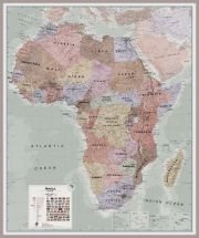 Huge Executive Africa political Wall Map (Pinboard & framed - Silver)