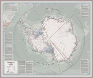 Huge Executive Antarctica Wall Map Political (Pinboard & framed - Silver)