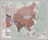 Huge Executive Asia Wall Map Political (Pinboard & framed - Silver)