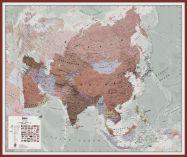Huge Executive Asia Wall Map Political (Pinboard & framed - Dark Oak)