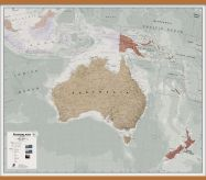 Huge Executive Australasia Wall Map Political (Wooden hanging bars)