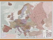 Huge Executive Europe Wall Map Political (Wooden hanging bars)