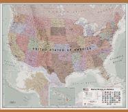 Huge Executive USA Wall Map (Wooden hanging bars)