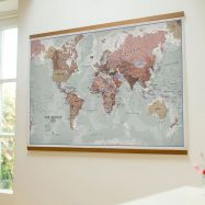 Large Executive World Wall Map Political (Wooden hanging bars)