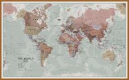 Large Executive World Wall Map Political (Pinboard & wood frame - Teak)