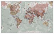 Large Executive World Wall Map Political (Wood Frame - White)