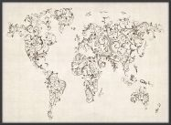 Large Floral Swirls Map of the World (Pinboard & wood frame - Black)