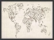 Medium Floral Swirls Map of the World (Pinboard & wood frame - Black)