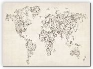 Small Floral Swirls Map of the World (Canvas)