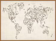 Large Floral Swirls Map of the World (Pinboard & wood frame - Teak)