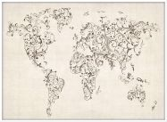 Large Floral Swirls Map of the World (Pinboard & wood frame - White)