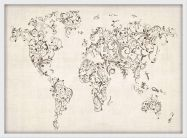 Medium Floral Swirls Map of the World (Pinboard & wood frame - White)