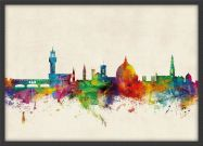 Small Florence Watercolour Skyline (Pinboard & wood frame - Black)