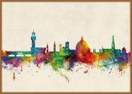 Large Florence Watercolour Skyline (Pinboard & wood frame - Teak)