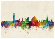 Large Florence Watercolour Skyline (Wood Frame - White)