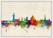 Medium Florence Watercolour Skyline (Wood Frame - White)