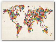 Large Flower Map of the World (Canvas)