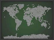 Medium Football Balls Map of the World (Wood Frame - Black)