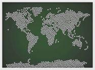 Medium Football Balls Map of the World (Wood Frame - White)