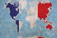 Huge France Flag Map of the World (Rolled Canvas - No Frame)