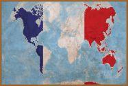 Large France Flag Map of the World (Pinboard & wood frame - Teak)