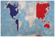 Large France Flag Map of the World (Pinboard & wood frame - White)