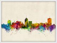 Small Fresno California Watercolour Skyline (Wood Frame - White)