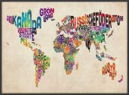 Large German Text Art Map of the World (Wood Frame - Black)