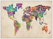 Large German Text Art Map of the World (Pinboard & wood frame - White)