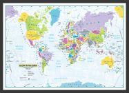 Glow in the Dark Children's World Map (Pinboard & wood frame - Black)