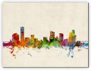 Small Grand Rapids Michigan Watercolour Skyline (Canvas)