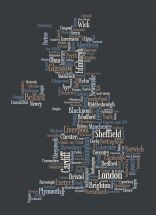 Small Great Britain UK City Text Art Map - Black (Rolled Canvas - No Frame)