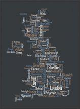 Large Great Britain UK City Text Art Map - Black (Pinboard & wood frame - Black)