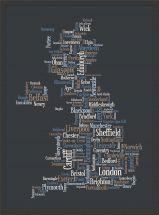 Small Great Britain UK City Text Art Map - Black (Wood Frame - Black)