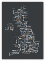 Small Great Britain UK City Text Art Map - Black (Canvas)
