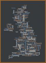 Large Great Britain UK City Text Art Map - Black (Pinboard & wood frame - Teak)