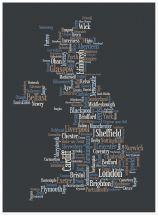 Large Great Britain UK City Text Art Map - Black (Wood Frame - White)