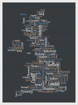 Medium Great Britain UK City Text Art Map - Black (Pinboard & wood frame - White)