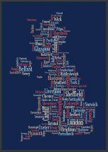 Large Great Britain UK City Text Art Map - Blue (Wood Frame - Black)