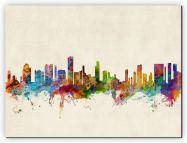 Large Honolulu Hawaii Watercolour Skyline (Canvas)