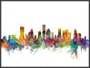 Large Houston Texas Watercolour Skyline (Wood Frame - Black)